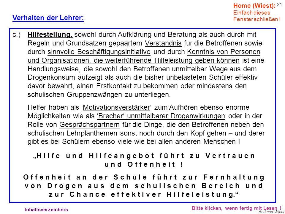 20 Andreas Wiest Verhalten der Lehrer: Bitte klicken, wenn fertig mit Lesen ! Lehrerverhalten - Strafe Home (Wiest): Einfach dieses Fenster schließen