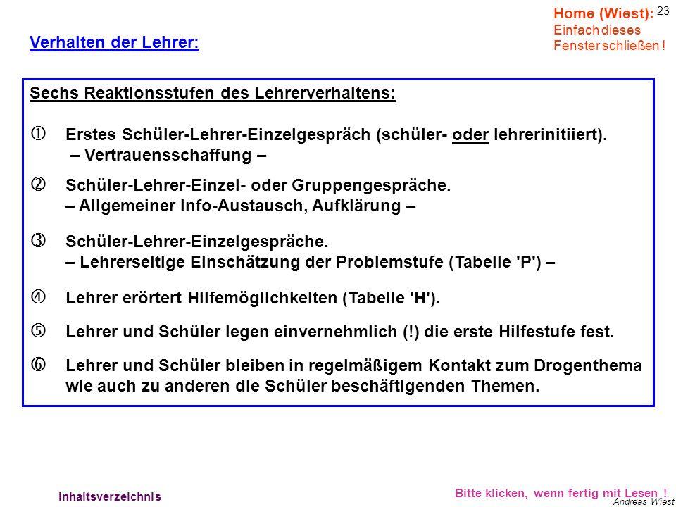 22 Andreas Wiest Verhalten der Lehrer: Bitte klicken, wenn fertig mit Lesen ! Lehrer können helfen !!!!! Notwendige Lehrersignale an die Schüler: Koop