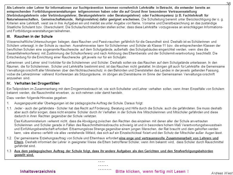 35 Andreas Wiest Rechtssicherheit 1 InhaltsverzeichnisBitte klicken, wenn fertig mit Lesen ! Baden-württembergische Verwaltungsvorschrift (Verwaltungs