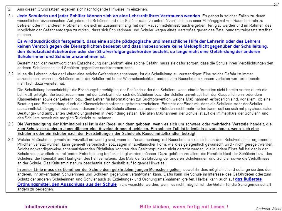 36 Andreas Wiest Rechtssicherheit 2 Inhaltsverzeichnis.................. Bitte klicken, wenn fertig mit Lesen ! Als Lehrerin oder Lehrer für Informati