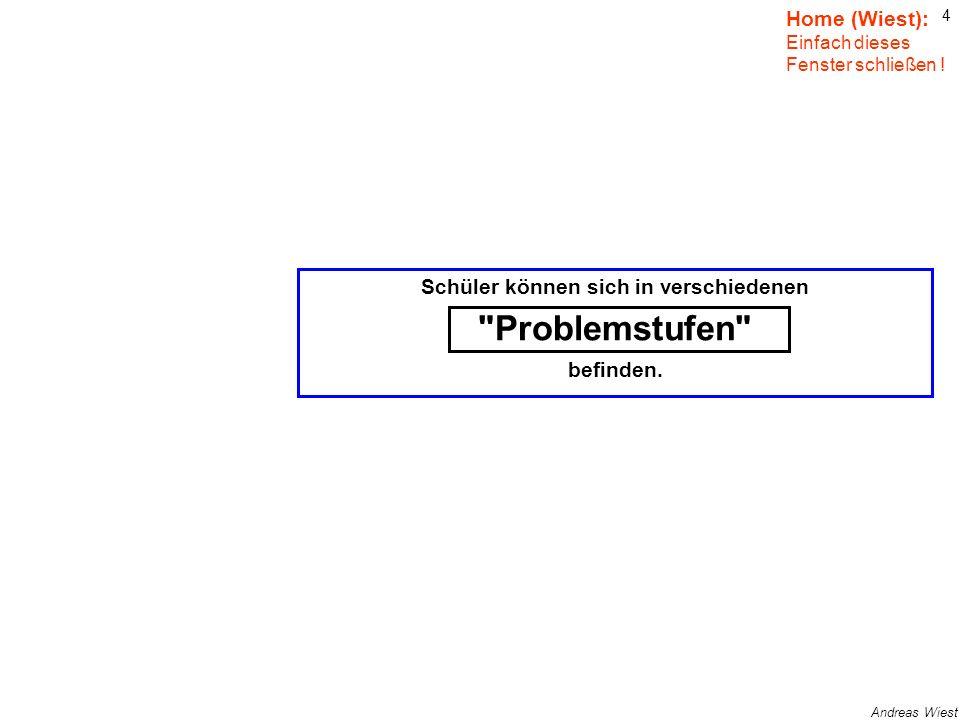 4 Andreas Wiest Schüler können sich in verschiedenen Problemstufen befinden.