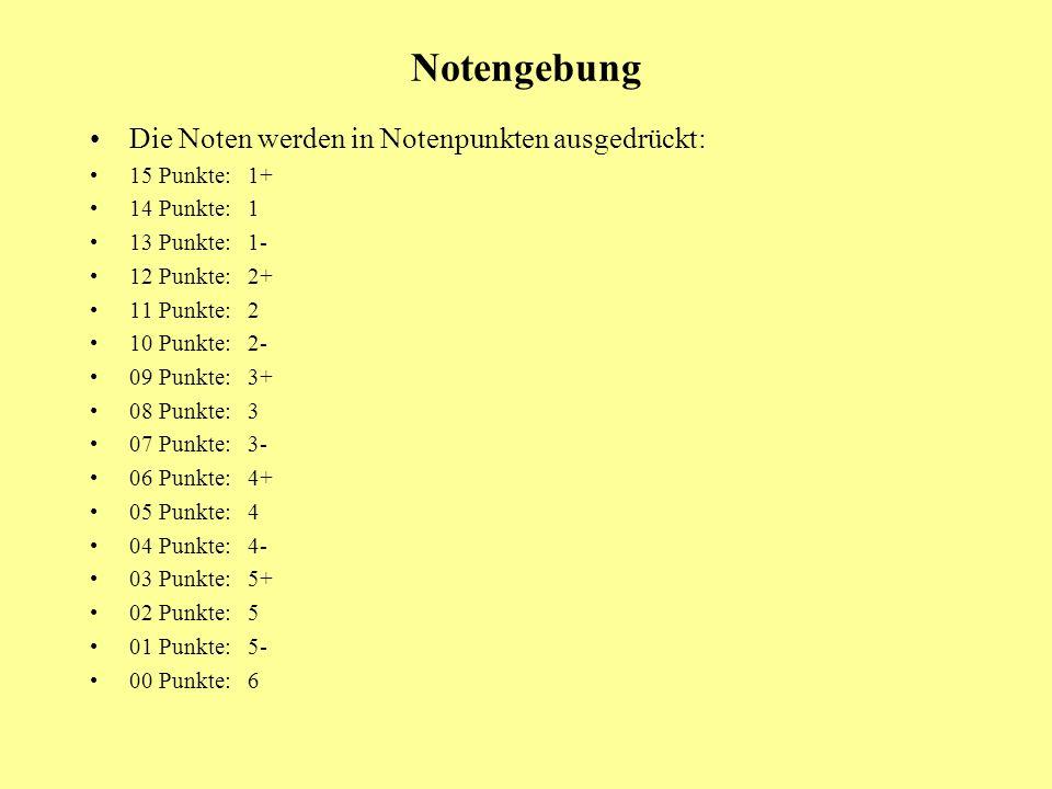 Notengebung Die Noten werden in Notenpunkten ausgedrückt: 15 Punkte: 1+ 14 Punkte: 1 13 Punkte: 1- 12 Punkte: 2+ 11 Punkte: 2 10 Punkte: 2- 09 Punkte: