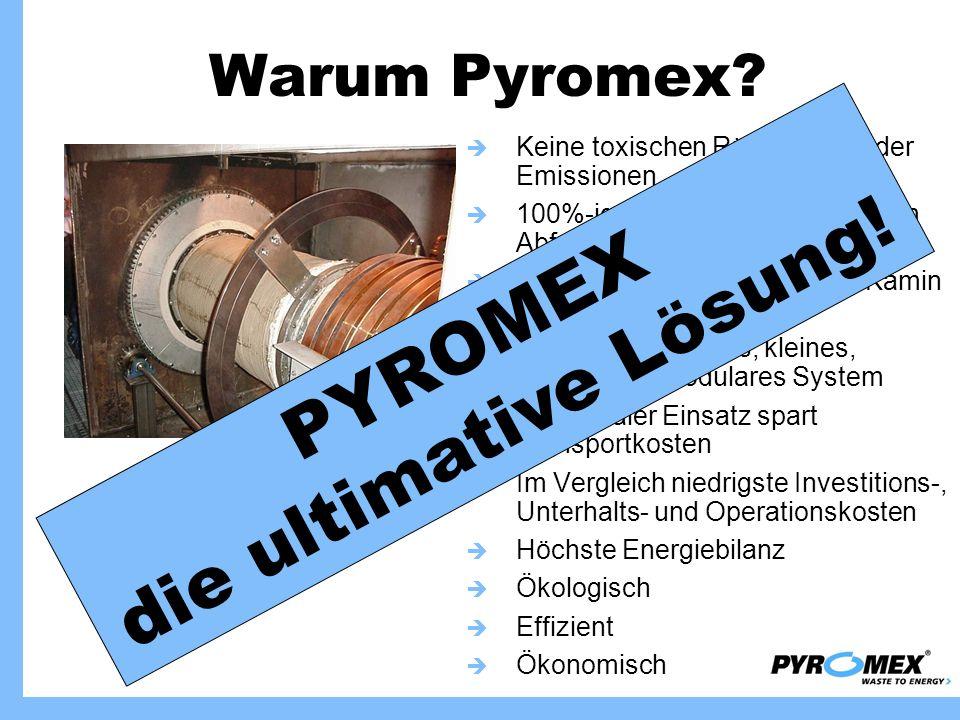 Warum Pyromex? Keine toxischen Rückstände oder Emissionen 100%-ige Rückgewinnung aller im Abfall enthaltener Energie Geschlossenes System, kein Kamin