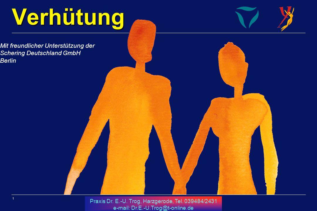1 Praxis Dr. E.-U. Trog, Harzgerode, Tel. 039484/2431 e-mail: Dr.E.-U.Trog@t-online.de Verhütung Mit freundlicher Unterstützung der Schering Deutschla