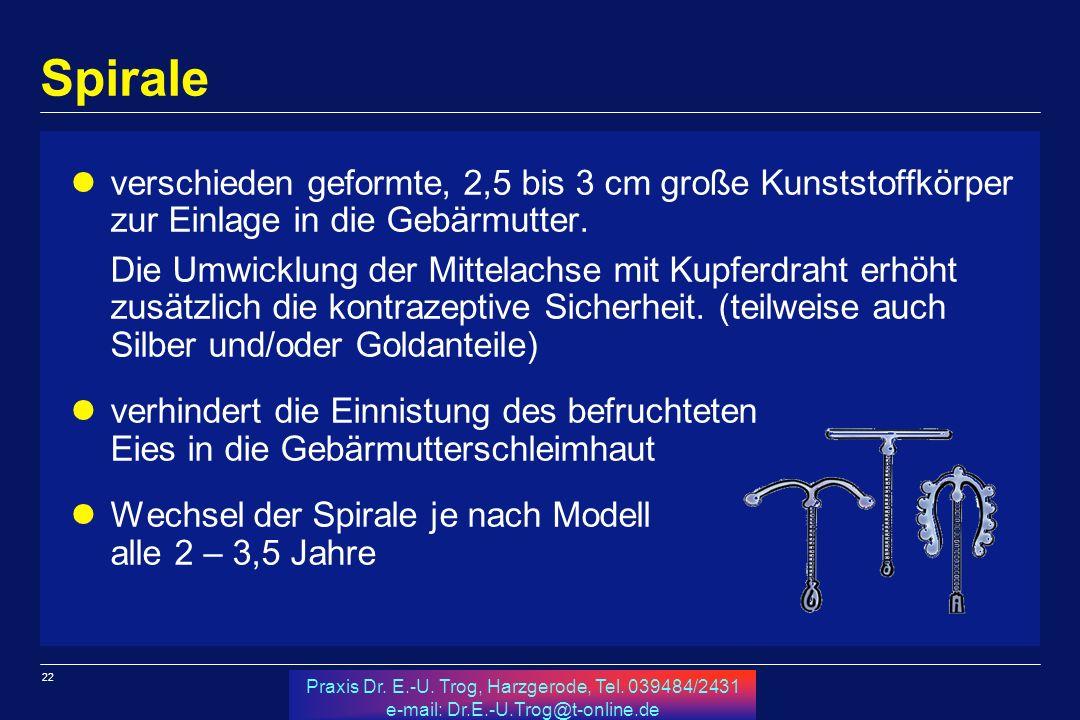 22 Praxis Dr. E.-U. Trog, Harzgerode, Tel. 039484/2431 e-mail: Dr.E.-U.Trog@t-online.de Spirale verschieden geformte, 2,5 bis 3 cm große Kunststoffkör
