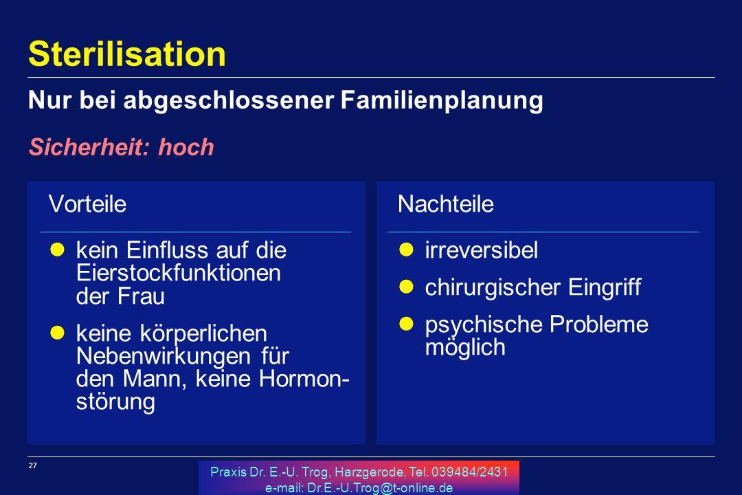 27 Praxis Dr. E.-U. Trog, Harzgerode, Tel. 039484/2431 e-mail: Dr.E.-U.Trog@t-online.de Sterilisation Vorteile kein Einfluss auf die Eierstockfunktion