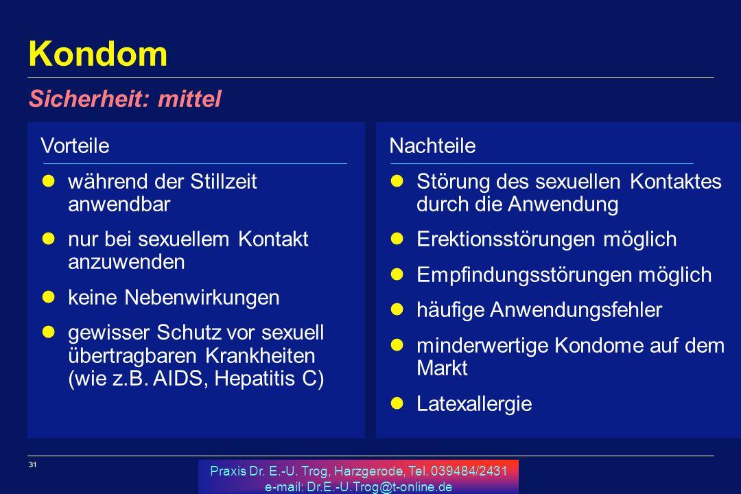 31 Praxis Dr. E.-U. Trog, Harzgerode, Tel. 039484/2431 e-mail: Dr.E.-U.Trog@t-online.de Kondom Vorteile während der Stillzeit anwendbar nur bei sexuel