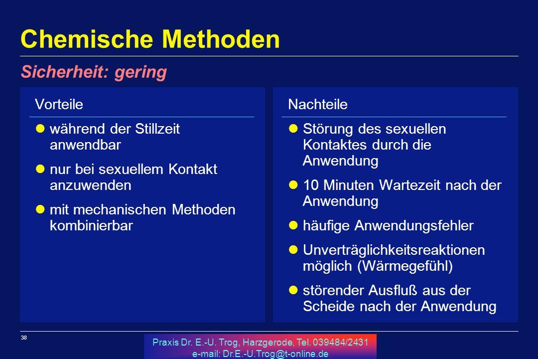 38 Praxis Dr. E.-U. Trog, Harzgerode, Tel. 039484/2431 e-mail: Dr.E.-U.Trog@t-online.de Chemische Methoden Vorteile während der Stillzeit anwendbar nu