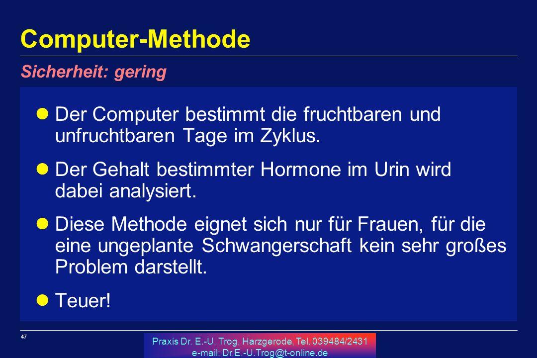 47 Praxis Dr. E.-U. Trog, Harzgerode, Tel. 039484/2431 e-mail: Dr.E.-U.Trog@t-online.de Computer-Methode Der Computer bestimmt die fruchtbaren und unf