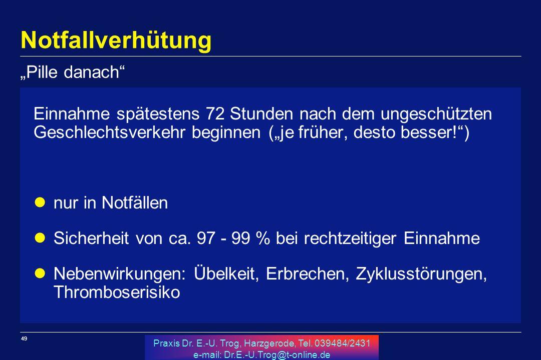 49 Praxis Dr. E.-U. Trog, Harzgerode, Tel. 039484/2431 e-mail: Dr.E.-U.Trog@t-online.de Notfallverhütung Einnahme spätestens 72 Stunden nach dem unges