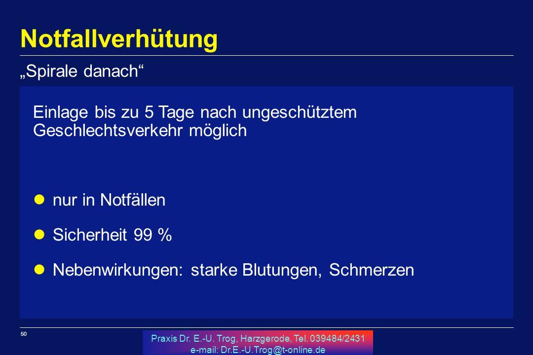 50 Praxis Dr. E.-U. Trog, Harzgerode, Tel. 039484/2431 e-mail: Dr.E.-U.Trog@t-online.de Notfallverhütung Einlage bis zu 5 Tage nach ungeschütztem Gesc