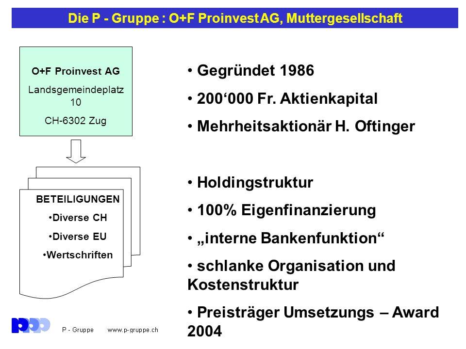 Die P - Gruppe : O+F Proinvest AG, Muttergesellschaft Gegründet 1986 200000 Fr. Aktienkapital Mehrheitsaktionär H. Oftinger Holdingstruktur 100% Eigen