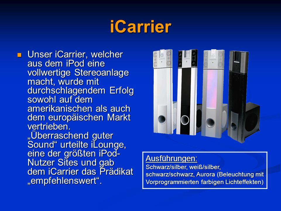 iCarrier Unser iCarrier, welcher aus dem iPod eine vollwertige Stereoanlage macht, wurde mit durchschlagendem Erfolg sowohl auf dem amerikanischen als