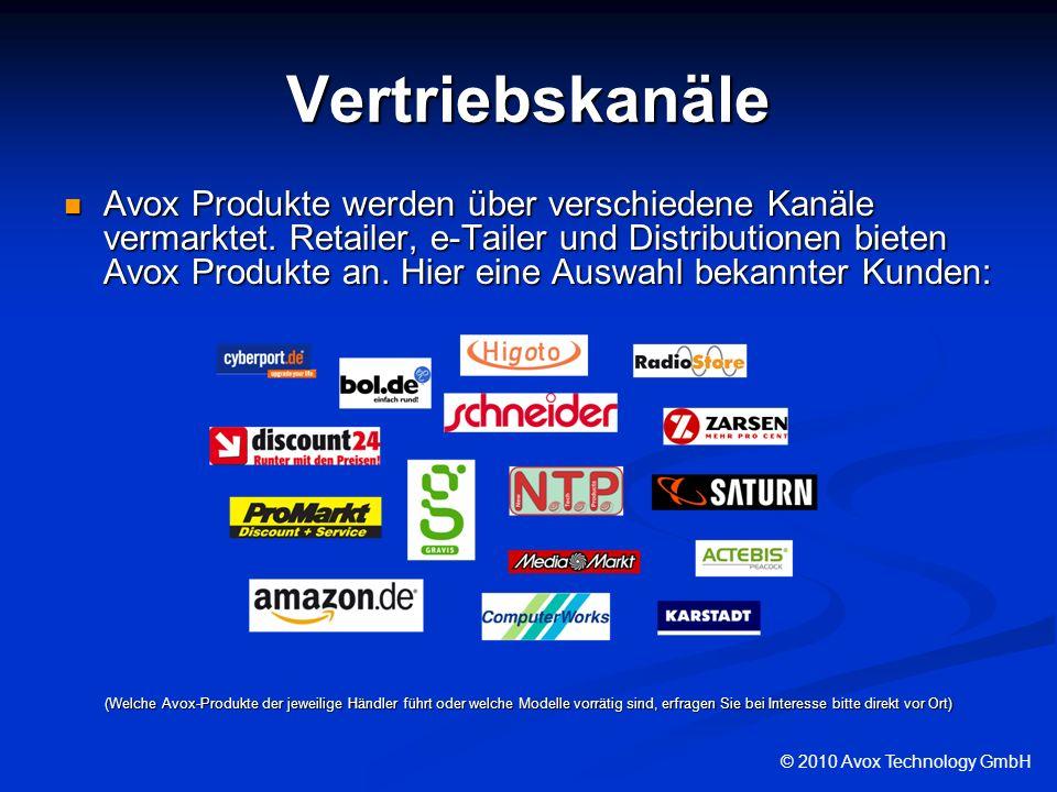 Vertriebskanäle Avox Produkte werden über verschiedene Kanäle vermarktet. Retailer, e-Tailer und Distributionen bieten Avox Produkte an. Hier eine Aus