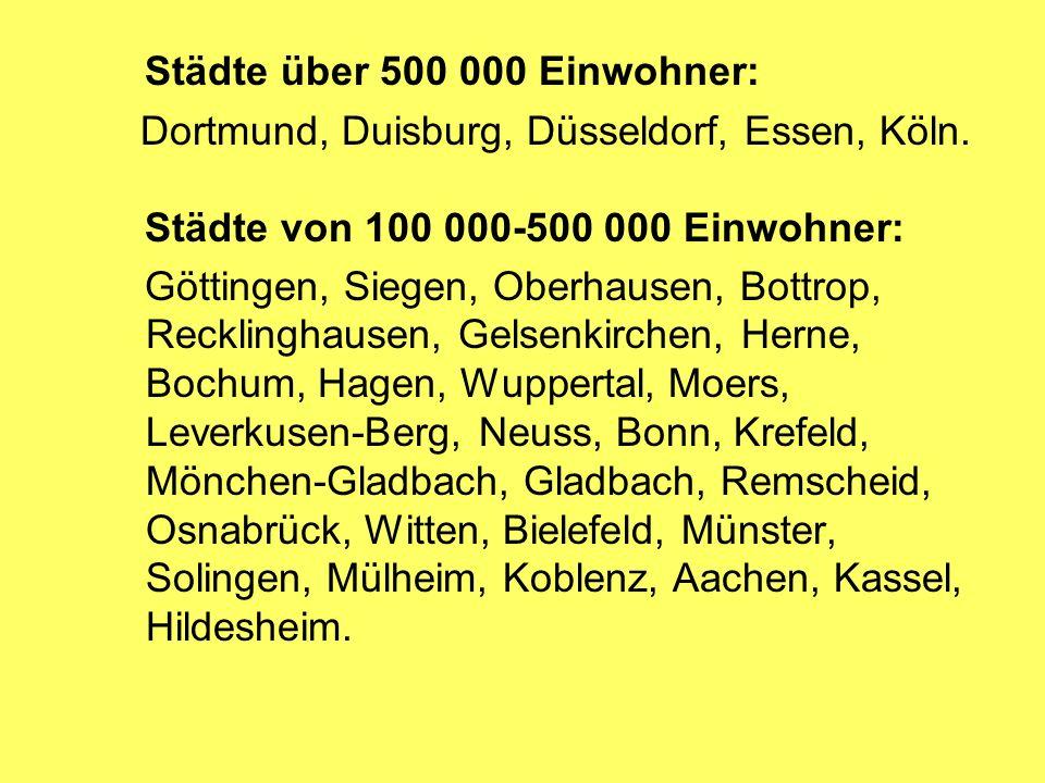 Städte über 500 000 Einwohner: Dortmund, Duisburg, Düsseldorf, Essen, Köln.