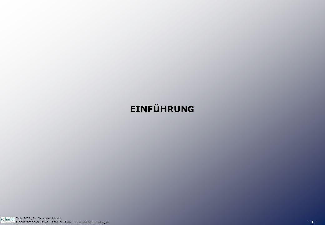 - 1 - © SCHMIDT CONSULTING – 7500 St. Moritz - www.schmidt-consulting.ch 30.10.2003 / Dr. Alexander Schmidt EINFÜHRUNG