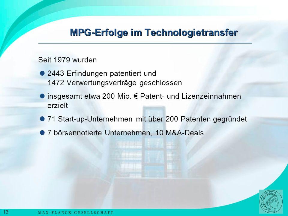 M A X - P L A N C K - G E S E L L S C H A F T 14 GPC Biotech AG; Martinsried bei München (Krebsmedikamente) MorphoSys AG; Martinsried bei München (Humane Antikörper) Evotec OAI AG; Hamburg (Entwicklung neuer Wirkstoffe) Alle drei Firmen haben ca.
