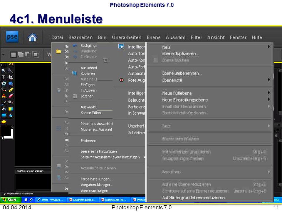 Photoshop Elements 7.0 4c1. Menuleiste Photoshop Elements 7.01104.04.2014