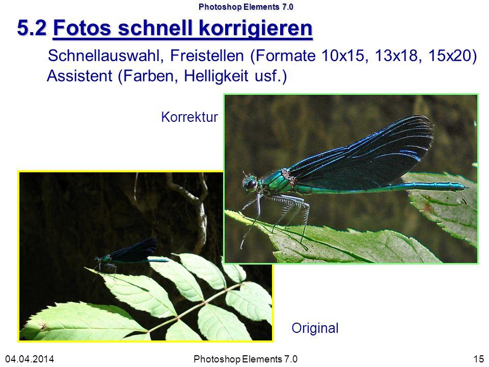 Original Photoshop Elements 7.0 5.2 Fotos schnell korrigieren Photoshop Elements 7.01504.04.2014 Schnellauswahl, Freistellen (Formate 10x15, 13x18, 15x20) Korrektur Assistent (Farben, Helligkeit usf.)