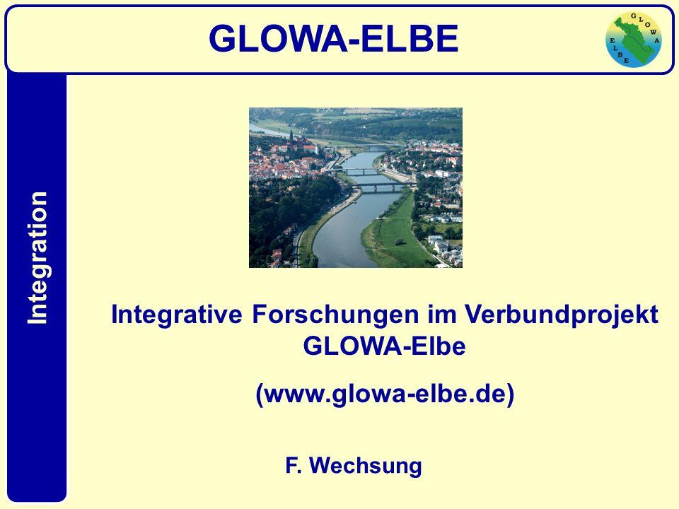 Integration F. Wechsung GLOWA-ELBE Integrative Forschungen im Verbundprojekt GLOWA-Elbe (www.glowa-elbe.de) Integration