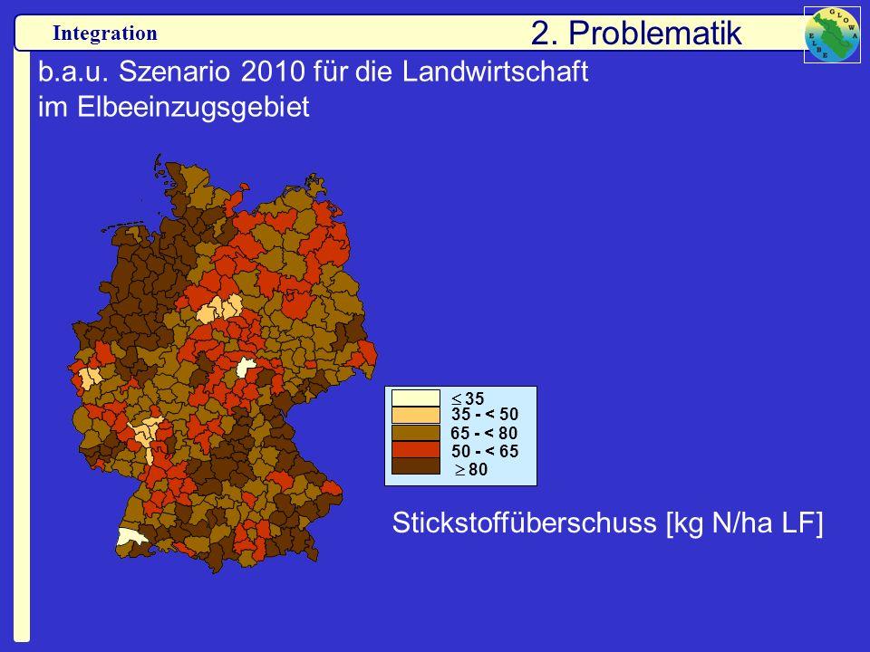 Integration b.a.u. Szenario 2010 für die Landwirtschaft im Elbeeinzugsgebiet 35 35 - < 50 80 50 - < 65 65 - < 80 Stickstoffüberschuss [kg N/ha LF] 2.