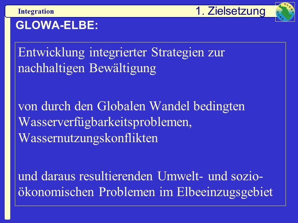 Integration GLOWA-ELBE: Entwicklung integrierter Strategien zur nachhaltigen Bewältigung von durch den Globalen Wandel bedingten Wasserverfügbarkeitsp