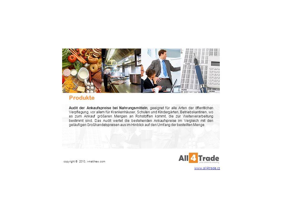 Gestaltung der Auswahlverfahren Monatliche Kontrollen Finanzspargarantie copyright © 2010, i-matthew.com Audit der Ankaufspreise bei Nahrungsmitteln www.all4trade.cz