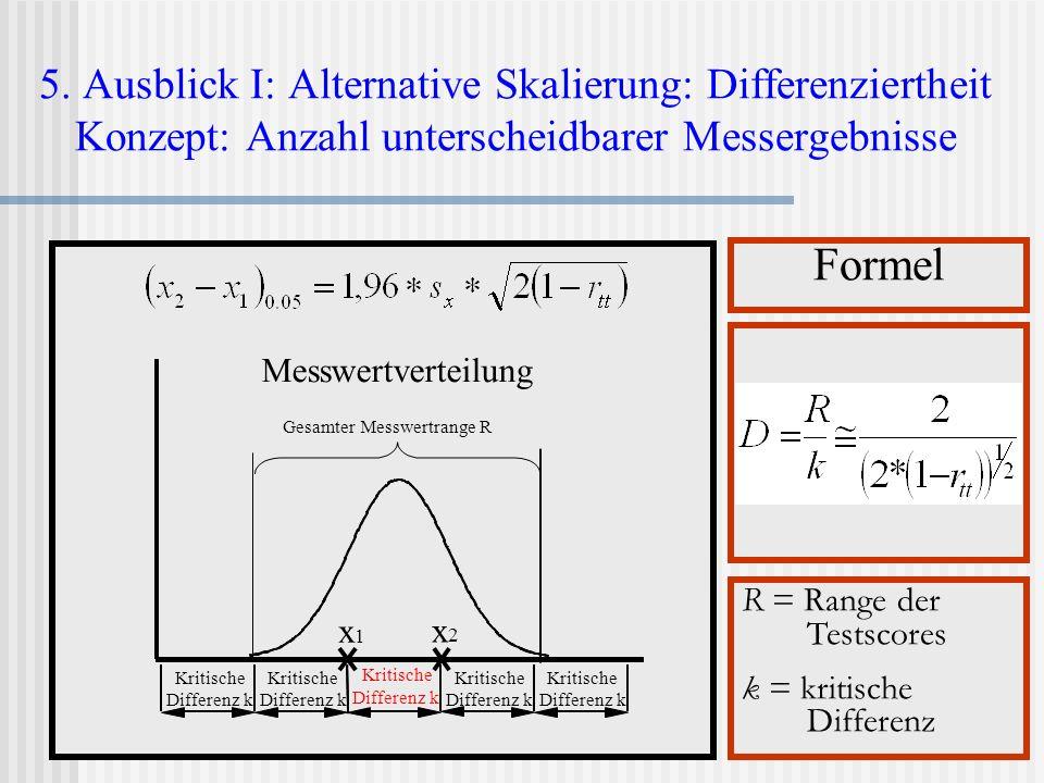 5. Ausblick I: Alternative Skalierung: Differenziertheit Konzept: Anzahl unterscheidbarer Messergebnisse Formel R = Range der Testscores k = kritische