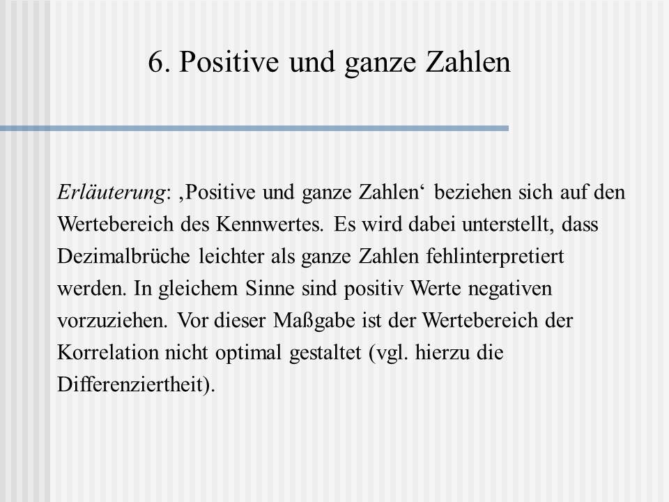 6. Positive und ganze Zahlen Erläuterung: Positive und ganze Zahlen beziehen sich auf den Wertebereich des Kennwertes. Es wird dabei unterstellt, dass