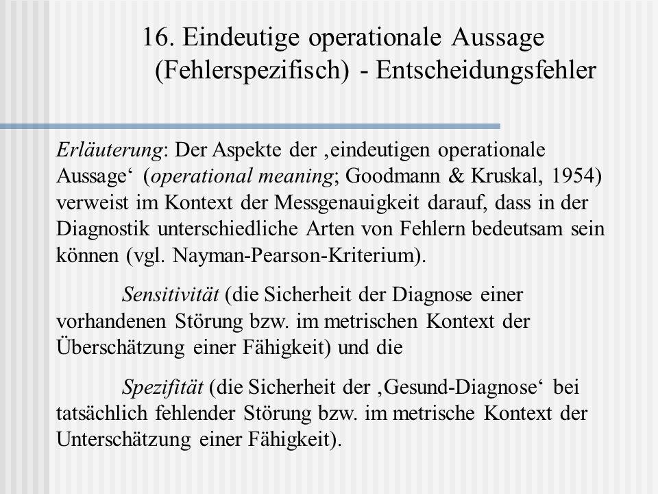 16. Eindeutige operationale Aussage (Fehlerspezifisch) - Entscheidungsfehler Erläuterung: Der Aspekte der eindeutigen operationale Aussage (operationa