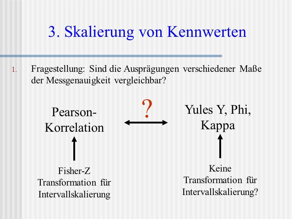 1. Fragestellung: Sind die Ausprägungen verschiedener Maße der Messgenauigkeit vergleichbar? 3. Skalierung von Kennwerten Pearson- Korrelation Yules Y