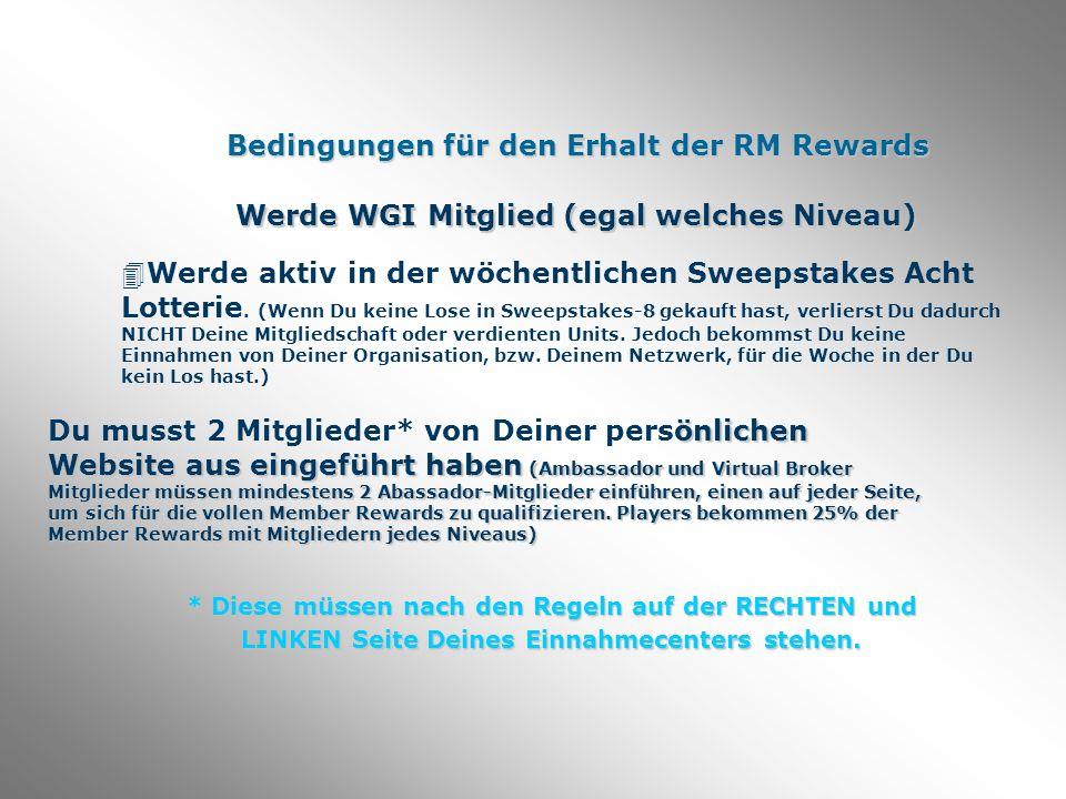Bedingungen für den Erhalt der RM Rewards Werde WGI Mitglied (egal welches Niveau) 4Werde aktiv in der wöchentlichen Sweepstakes Acht Lotterie.