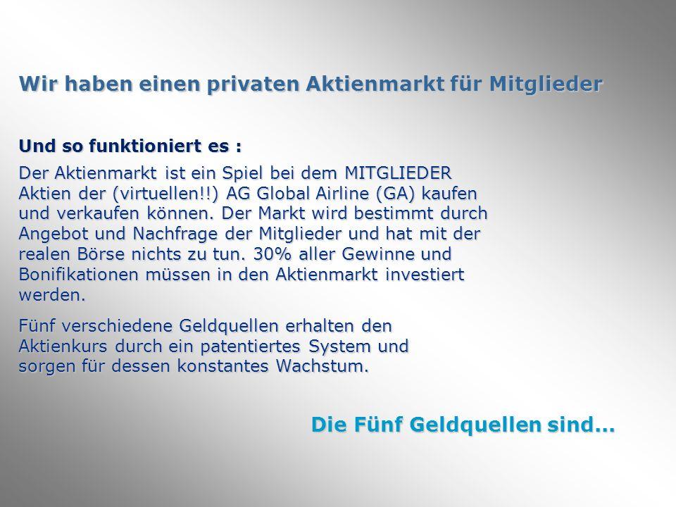 Wir haben einen privaten Aktienmarkt für Mitglieder Und so funktioniert es : Der Aktienmarkt ist ein Spiel bei dem MITGLIEDER Aktien der (virtuellen!!) AG Global Airline (GA) kaufen und verkaufen können.