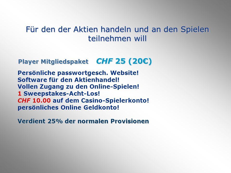 Für den der Aktien handeln und an den Spielen teilnehmen will Player Mitgliedspaket CHF 25 (20) Persönliche passwortgesch.