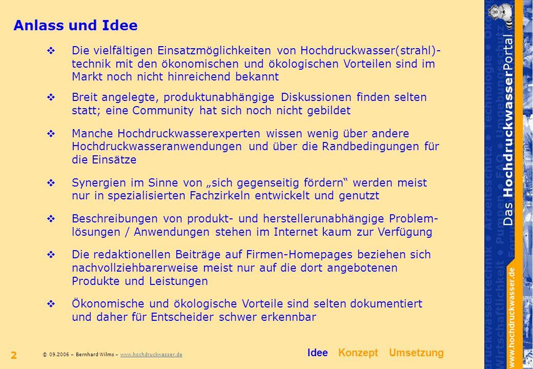 © 09.2006 – Bernhard Wilms – www.hochdruckwasser.dewww.hochdruckwasser.de 2 Anlass und Idee Breit angelegte, produktunabhängige Diskussionen finden se
