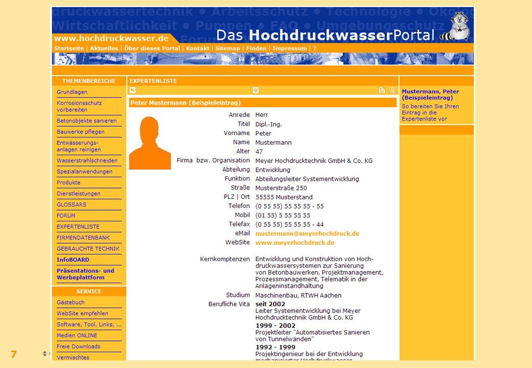 © 09.2006 – Bernhard Wilms – www.hochdruckwasser.dewww.hochdruckwasser.de 7 IdeeKonzeptUmsetzung
