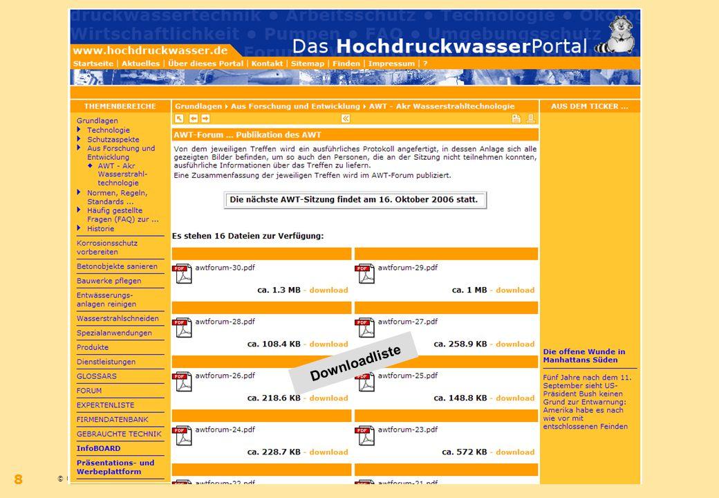 © 09.2006 – Bernhard Wilms – www.hochdruckwasser.dewww.hochdruckwasser.de 8 IdeeKonzeptUmsetzung Downloadliste