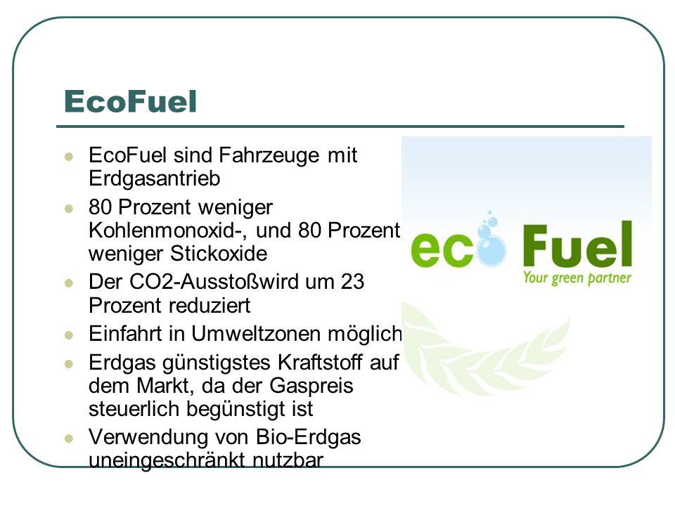 EcoFuel EcoFuel sind Fahrzeuge mit Erdgasantrieb 80 Prozent weniger Kohlenmonoxid-, und 80 Prozent weniger Stickoxide Der CO2-Ausstoßwird um 23 Prozent reduziert Einfahrt in Umweltzonen möglich Erdgas günstigstes Kraftstoff auf dem Markt, da der Gaspreis steuerlich begünstigt ist Verwendung von Bio-Erdgas uneingeschränkt nutzbar