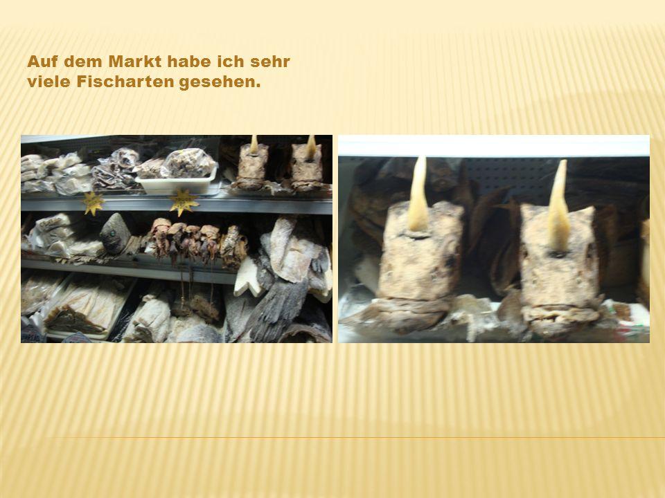 Auf dem Markt habe ich sehr viele Fischarten gesehen.