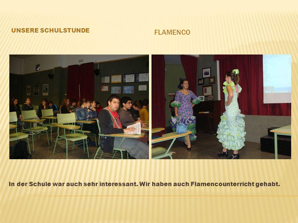 In der Schule war auch sehr interessant. Wir haben auch Flamencounterricht gehabt.