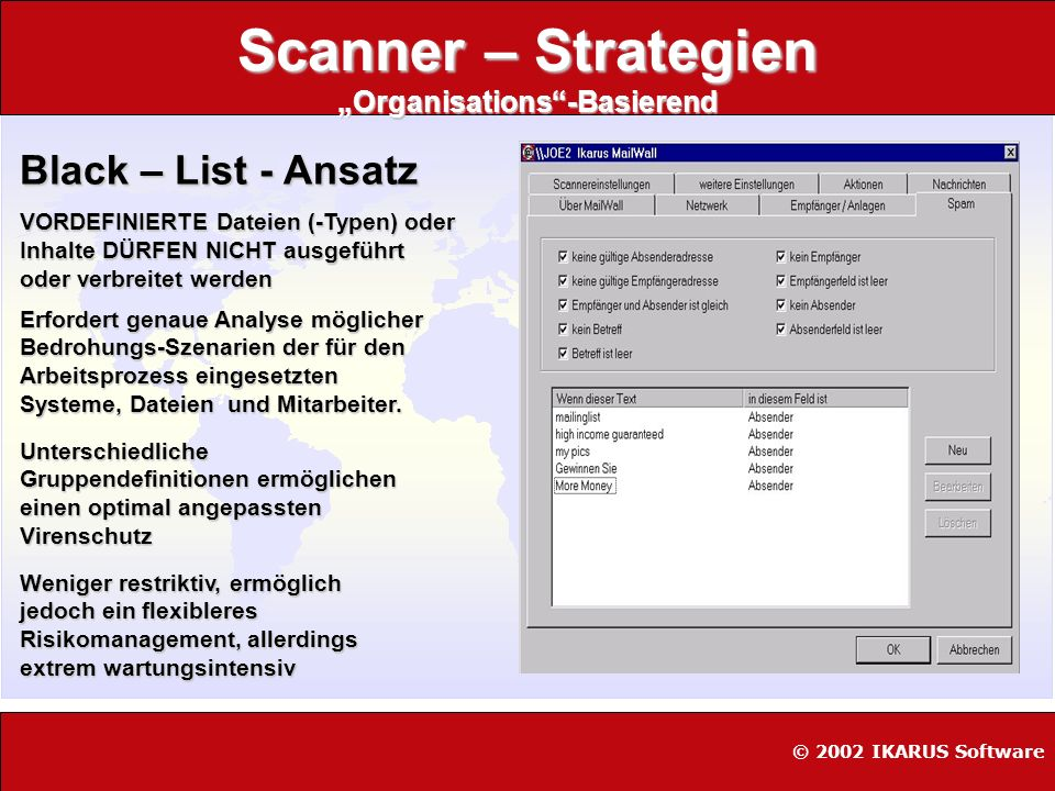 Scanner – Strategien Organisations-Basierend Black – List - Ansatz VORDEFINIERTE Dateien (-Typen) oder Inhalte DÜRFEN NICHT ausgeführt oder verbreitet