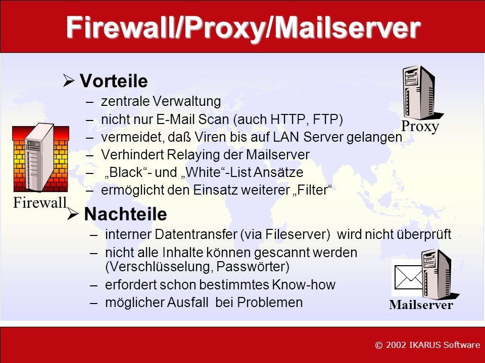 Firewall/ProxyMailserver Firewall/Proxy/Mailserver Vorteile –zentrale Verwaltung –nicht nur E-Mail Scan (auch HTTP, FTP) –vermeidet, daß Viren bis auf
