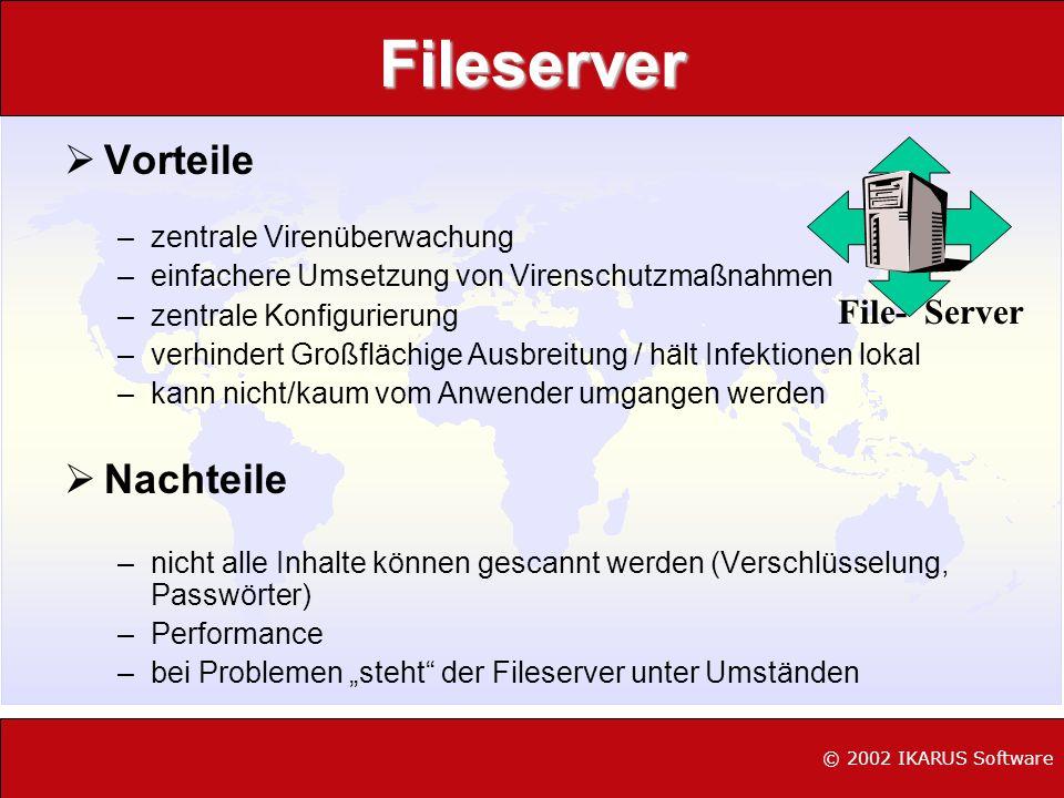 Fileserver Vorteile –zentrale Virenüberwachung –einfachere Umsetzung von Virenschutzmaßnahmen –zentrale Konfigurierung –verhindert Großflächige Ausbre
