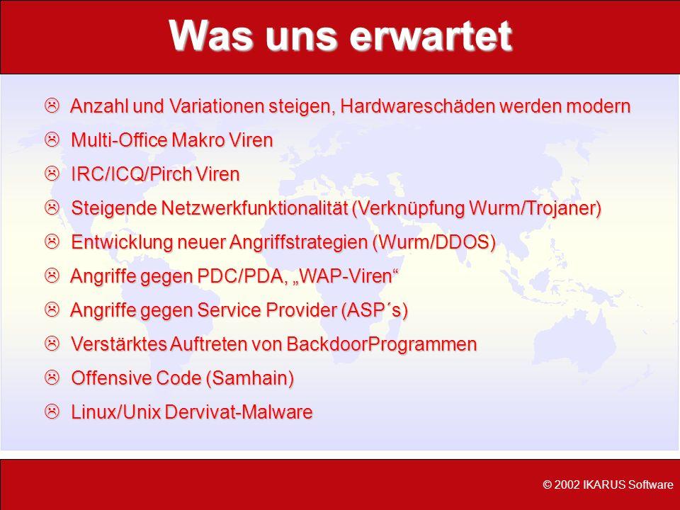 © 2002 IKARUS Software Was uns erwartet L Anzahl und Variationen steigen, Hardwareschäden werden modern L Multi-Office Makro Viren L IRC/ICQ/Pirch Vir