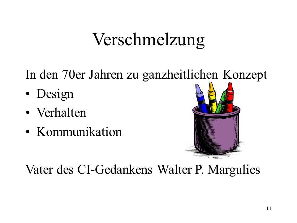 11 Verschmelzung In den 70er Jahren zu ganzheitlichen Konzept Design Verhalten Kommunikation Vater des CI-Gedankens Walter P. Margulies