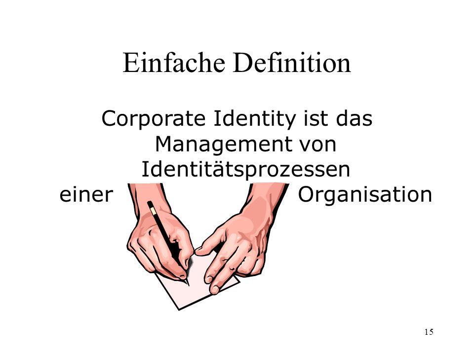 15 Einfache Definition Corporate Identity ist das Management von Identitätsprozessen einer Organisation