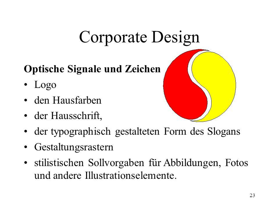 23 Corporate Design Optische Signale und Zeichen Logo den Hausfarben der Hausschrift, der typographisch gestalteten Form des Slogans Gestaltungsraster