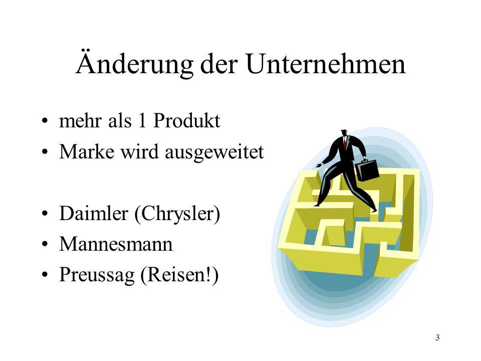 3 Änderung der Unternehmen mehr als 1 Produkt Marke wird ausgeweitet Daimler (Chrysler) Mannesmann Preussag (Reisen!)