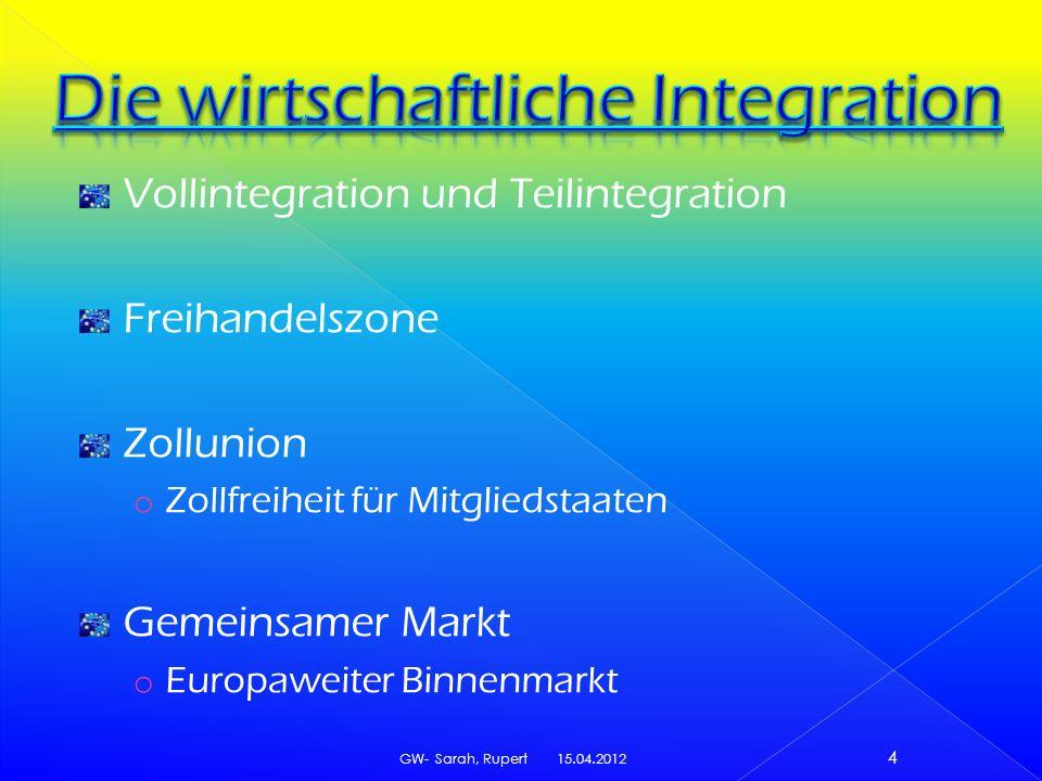 Vollintegration und Teilintegration Freihandelszone Zollunion o Zollfreiheit für Mitgliedstaaten Gemeinsamer Markt o Europaweiter Binnenmarkt 15.04.2012 GW- Sarah, Rupert 4