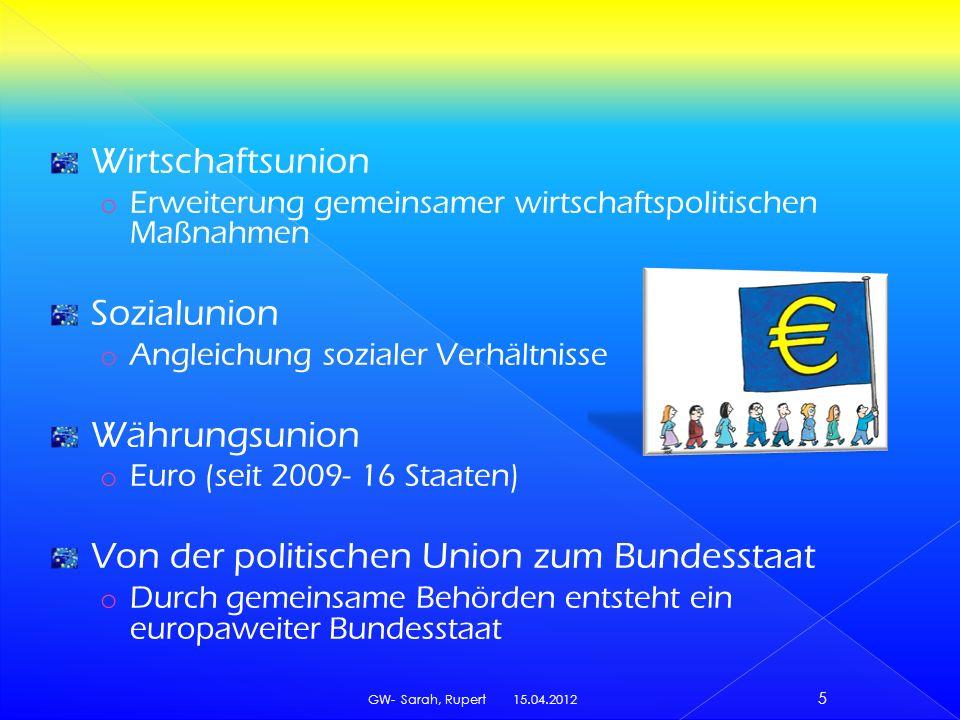 Wirtschaftsunion o Erweiterung gemeinsamer wirtschaftspolitischen Maßnahmen Sozialunion o Angleichung sozialer Verhältnisse Währungsunion o Euro (seit